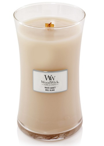 WoodWick vonná svíčka ve skle White honey 609g